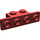 LEGO Dark Red Bracket 1 x 2 - 1 x 4 with Rounded Corners (2436)