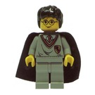 LEGO Harry Potter with Gryfindor Shield Torso, Medium Stone Gray Legs, and a Black Cape with Stars Minifigure